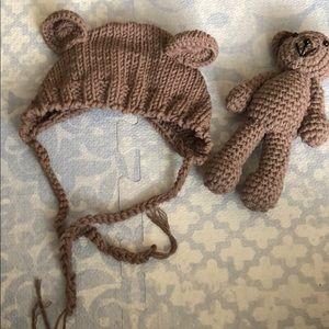 Other - Newborn bear hat and teddy bear